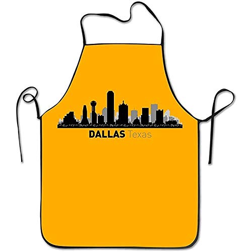 WEERQ Aprons Unisex Dallas Texas City Silhouette Skyline Kitchen Apron Cooking Cafe Apron