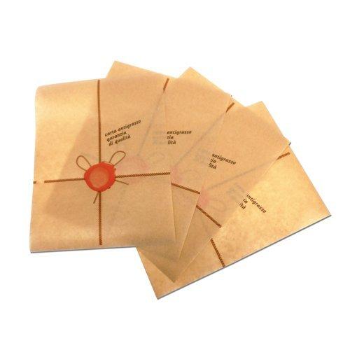 PZ 1000 feuillets en papier graisse cm 18 x 25 marron brown paper pour Piadina Panini Hamburger Pizza et toasts notice politenato