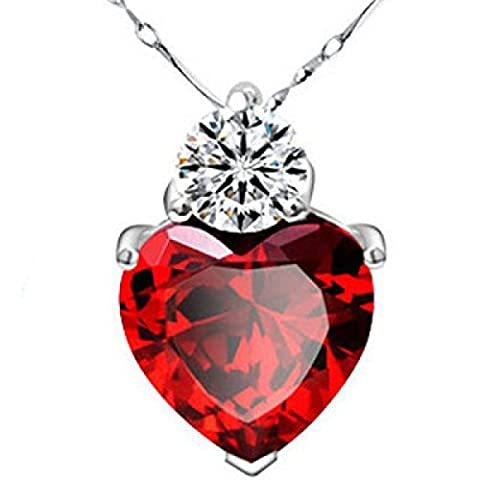 Sterling Silver Pomegranate Female Gift Box Earrings Suit Collier,Red-OneSize