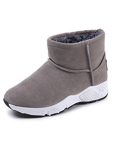 Minetom donna invernali caldo peluche foderato camoscio stivali da neve antiscivolo stivaletti di caviglia martin boots scarpe bassi b grigio eu 39