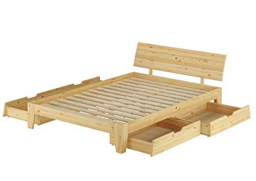Erst-Holz® Massivholzbett Kiefer Natur Doppelbett 140x200 Futonbett Rollrost Bettkastenset 60.62-14 S8