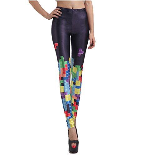 Rubberfashion Leggings Tetris, glänzende Leggin mit Tetris-Motiv bis zur Hüfte für Frauen und Mädchen Menge: 1 Stück standard S/M (Tetris Kostüm)