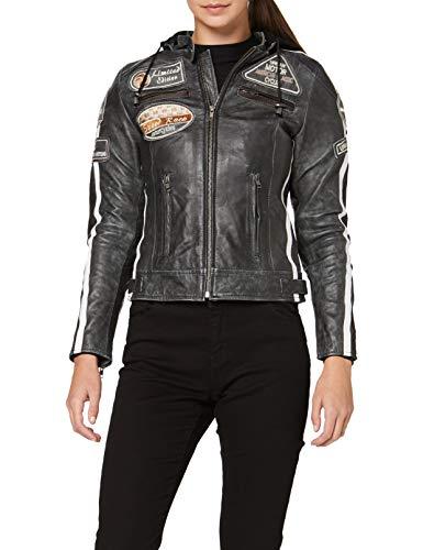 Urban leather 58 giacca moto da donna con imbottitura protettiva, breaker, taglia s