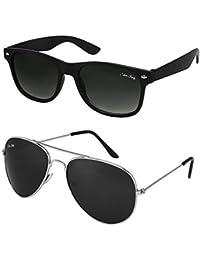 Silver Kartz Combo Wayfarer Aviator Unisex Sunglasses(Silver Kartz_55mm_Black)