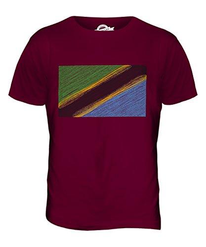 CandyMix Tansania Kritzelte Flagge Herren T Shirt Burgunderrot