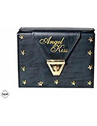 SCEVA Casual PU Leather Black Printed Cross Body/Sling Bag With Adjustable Compartment & Strap For Women & Girls