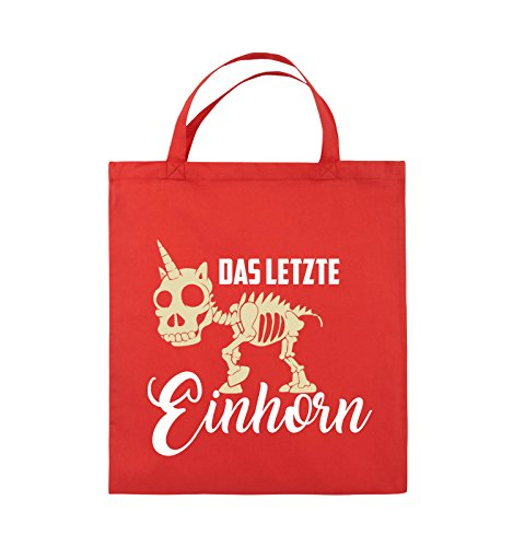 Comedy Bags - Das letzte Einhorn - SKELETTE - Jutebeutel - kurze Henkel - 38x42cm - Farbe: Schwarz / Weiss-Neongrün Rot / Weiss-Beige