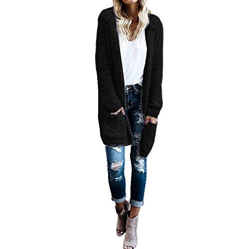 iHENGH Damen Mantel Top,Women Fashion Lambswool Hoodie Strick Lange ÄRmel Cardigan Pullover Oberbekleidung Mit Tasche Coat Strickjacke Tops