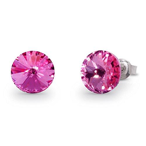 Spark Swarovski Elements Damen Ohrstecker Silber 925, Swarovski Kristall rund 8 mm rosa