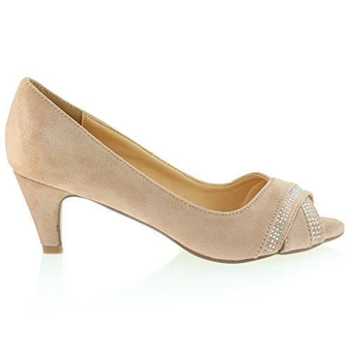 Femmes Dames Soir Décontractée Diamante Crossover Talon Moyen Des Sandales Chaussures Taille Rose