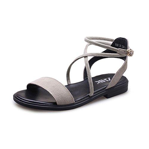 KaiGangHome Arbeiten Sie wilde flache Schuhkursteilnehmer mit Schnallenriemen-Sandelholzschuhen der offenen Zehefrauen um (Color : Beige, Size : 35)