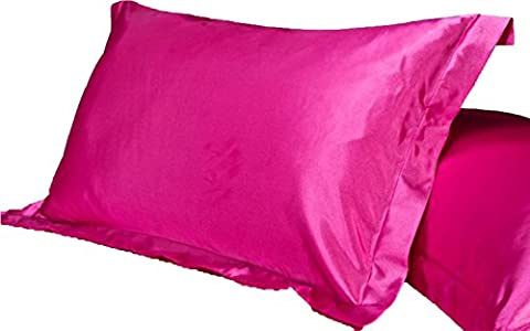 2pc New Queen/Standard Silk~y Satin Pillow Case Multiple Colors (rose)