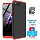 TBZ Ultra-Thin 3-in-1 Slim Fit 360 Degree Protection Bumper Back Case Cover For Oppo A3s With Mobile Ring Holder And Tempered Screen -Black