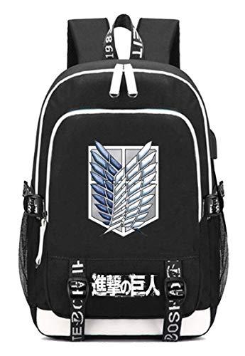 Cosstars Attack on Titan Anime Backpack Schultasche Laptop-Rucksack mit USB-Ladeanschluss und Kopfhöreranschluss /8 (Mikasa Figur)