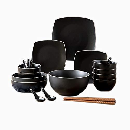 ZHAO YING Besteck-Set Reisschale Teller Haushaltskeramik Glasur Prozess Platte Suppenschüssel Square Dish (Color : Black)