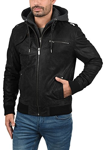 SOLID Ash Herren Lederjacke Echtleder Bikerjacke mit abnehmbarer Sweatkapuze aus 100% Leder Black (9000)