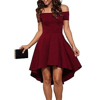 Schulterfreies Abendkleid ZJCTUO Damen Kleid Elegant Skaterkleid Kurz Cocktailkleid Asymmetrisch Festlich Partykleid(Wein,42)