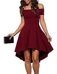 Damen Schulterfreies Kleid Elegant Skaterkleid Kurz Cocktailkleid Asymmetrisch Abenkleid Festlich Partykleid