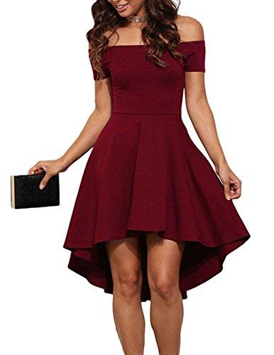 ZJCTUO Damen Kleid Abendkleid Schulterfreies Cocktailkleid Jerseykleid Skaterkleid Knielang Elegant Festlich Asymmetrisches Partykleid- Gr. 40 (L), Wein