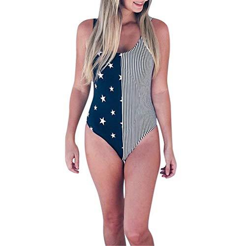 BURFLY Sommer Baby Mutter niedlich Eltern-Kind tragen ärmellose Sterne gestreiften einteiligen Badeanzug ()