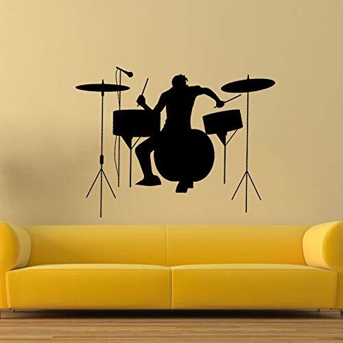 juntop Schlagzeuger Silhouette Rock Band Musik Wandaufkleber Wohnzimmer Vinyl Aufkleber Dekor 43x57cm 1 43x57cm - Rock Band Silhouette