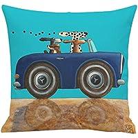 Westeng 1 pcs Funda de cojín de lino Funda de almohada con Serie de Patrón de Coche de Dibujos Animados Almohada Caso de la Cubierta del Amortiguador Decorativo(con exclusión de almohada)