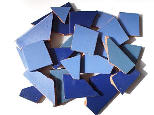 900g Bruchmosaik, Mosaikfliesen aus handgefertigten mexikanischen Fliesen - Blau Töne