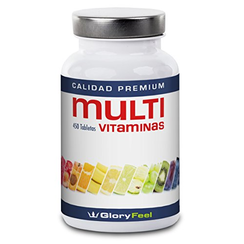 Multivitaminas 450 pastillas altamente dosificadas - Vitaminas y suplementos para hombres y mujeres - Complejo Multivitaminico para vegetarianos y veganos - Vitamina de GloryFeel