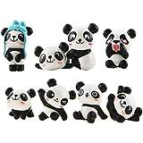 LHKJ 8 st/set söta pandor tårtdekoration barn födelsedagsfest härliga leksaker figurer lekset gör-det-själv trädgårdsdocka ko