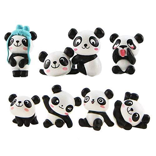 LHKJ 8 Stück Niedliche Panda Figuren Set Mikro Landschaft Ornamente DIY Gartenpuppe Zuhause Dekoration Handwerk