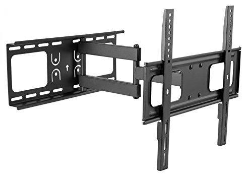 RICOO TV Wandhalterung S3744 Fernseh Universal Halterung Schwenkbar Neigbar Aufhängung Curved LCD Fernseherhalterung Wand Halter Flach 81-140cm 32-55 Zoll VESA 200x200 400x400 Schwarz