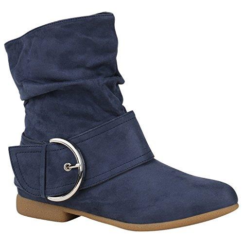 Damen Schuhe Schlupfstiefel Schnallen Stiefeletten Leder-Optik 150473 Blau Schnallen 36 Flandell
