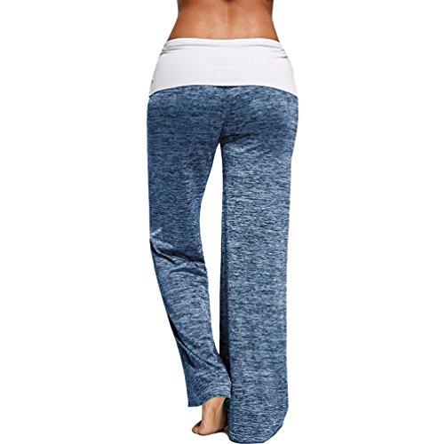 ZKOO Donna Morbido Yoga Pantaloni Harem Larga Estivi Baggy Pantaloni per Pilates Jogging Sportivi Azzurro