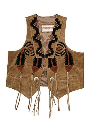 Herren Lederweste Weste Leder Trachten Lederweste Gilet Herren Damen, Western Jagd Lederweste in Hellbraun und Schwarz (M, Camel)