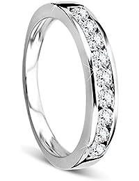 Orovi Damen-Ring Memoire HochzeitsringWeißgold 14 Karat (585) Brillanten 0.50 carat Verlobungsring Diamantring