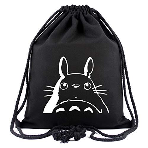 Cosstars My Neighbor Totoro Anime Sporttasche Turnbeutel Training Tasche Gym Sack Drawstring Bag Schwarz-2