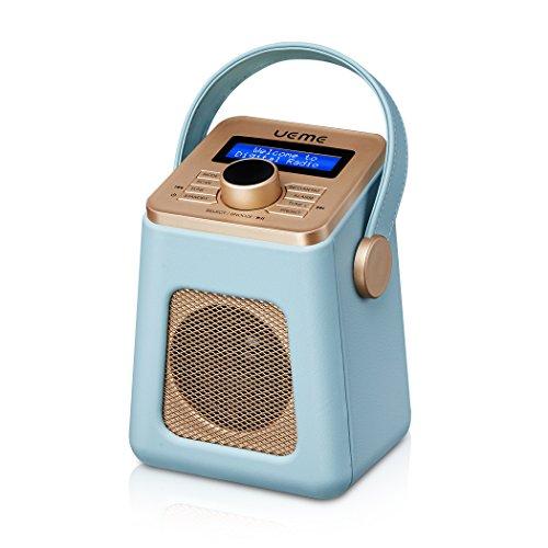 UEME Mini DAB+ DAB Digital Radio und FM Radio mit Bluetooth | Retro DAB Plus Radio mit Uhr und Weckerfunktion (Blau)