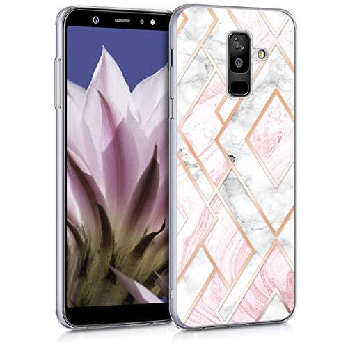 kwmobile Samsung Galaxy A6+/A6 Plus (2018) Hülle - Handyhülle für Samsung Galaxy A6+/A6 Plus (2018) - Handy Case in Glory Mix Marmor Design Rosegold Weiß Altrosa
