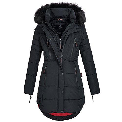 Marikoo MOONSHINE Damen Mantel Jacke Steppjacke Winterjacke warm gefüttert XS-XXL 4Farben Schwarz