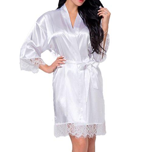 Braut-robe (Juleya Damen Satin Braut Robe Brautjungfer Spitze Kimono Bademantel Home Nachtwäsche Sexy Hochzeit Braut Morgenmantel Weiß S)