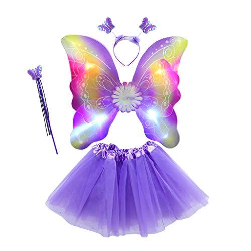 Baguette Kostüm - only y 4-teiliges Kostüm Fee Schmetterling beleuchtet Mädchen Damen - Flügel Kostüm Prinzessin Kleid Schmetterling Miraculous Cosplay für Karneval Kostüm Flügel Baguette Haarreif und Tutu 2