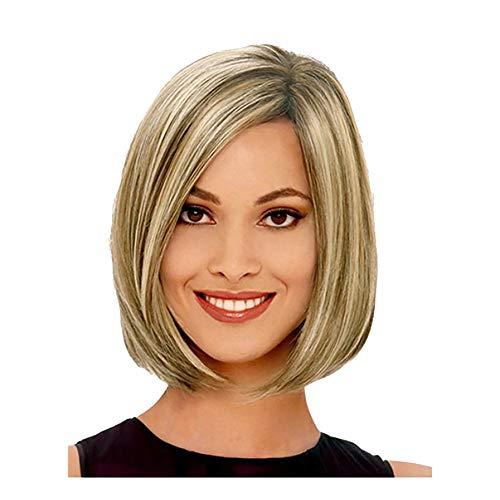 Hair Élégant Synthétique Résistant À La Chaleur Synthétique, feiXIANG Femmes Courte/Longueur Soyeuse Droit Droite Sombre Racines Cheveux Blonds Dorés Perruques Bobo Comme Véritable Perruque