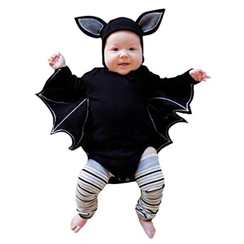 mpsuit Neugeborenes Baby Fledermaus Design Romper Jungen Mädchen Halloween Cosplay Kostüm Strampler Hut Outfits Sets Moginp (80, Schwarz) ()