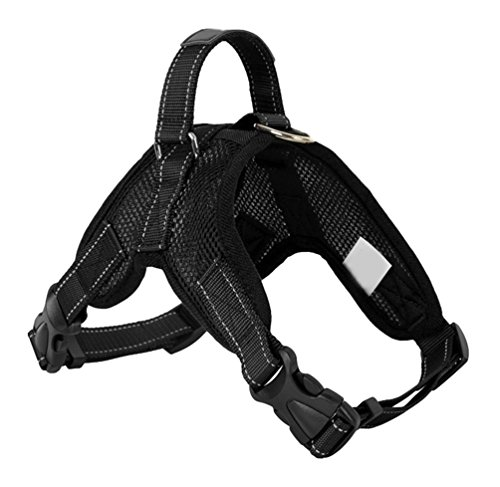 Yiiquanan Hundegeschirr Heavy Duty Mittlere/Große Hunde Geschirr Verstellbar Haustiere Vest Harness Ür Training Oder Walking (Schwarz#2, Asia S)