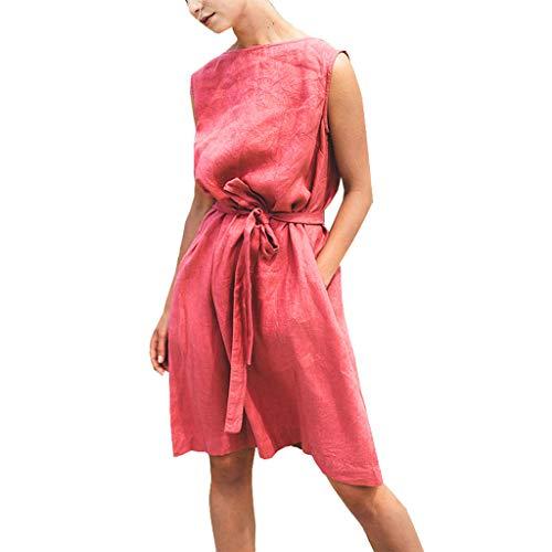 Damen Ärmellos Baumwolle Leinen Kleid, LeeMon Mode Frauen Oansatz ärmellose Feste Bandage Baumwolle Leinen lässige ()