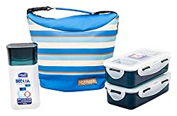 Lock & Lock Plastic Lunch Box with Stripes Bag Set, 4-Pieces, Blue