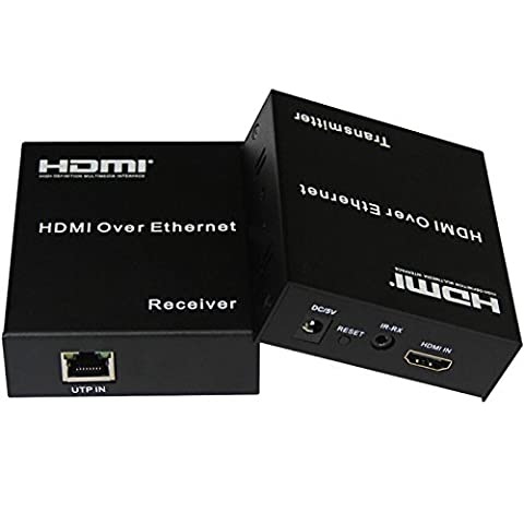 E-SDS HDMI Extender over Ethernet over Single Cat5e Cat6 Cable Up to 395ft(120m) with IR, Support 1080p ,HDMI 1.3, HDCP 1.2/ 1.1, TCP/IP Standard - (Transmitter and Receiver Set)