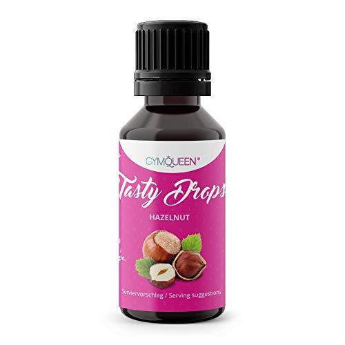 GymQueen Tasty Drops 30ml | Kalorienfreie, Zuckerfreie und Fettfreie Flavour Drops | Aroma Tropfen zum Süßen von Lebensmitteln | Geschmackstropfen ohne Künstliche Farbstoffe I Haselnuss
