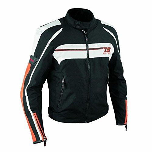 A-Pro-Giacca-Moto-Sport-Custom-Impermeabile-Sfoderabile-Tessuto-Cordura-Arancione-XL