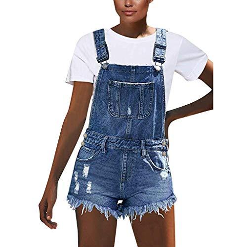 Frauit salopette donna jeans strappati corti salopette ragazza denim corta larga jumpsuit estiva corta elegante tuta eleganti corte estive pantaloncini estivi corti romper monopezzi e tutine